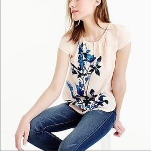 J Crew Silk Floral Print Cap Sleeve Top SZ 2